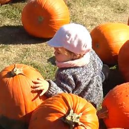 Young child in a field surrounded by pumpkins.