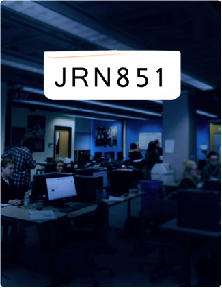 JRN 851 is written in black text, with the Ryersonian newsroom in the background.