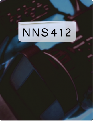 NNS 412 is written in black font, with a blurred background.