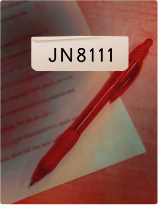 JN8111 is written in black font, with a red pen on top of a piece of paper in the background.