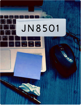 JN8501 written in black text, with a laptop, mouse and pen in the background.