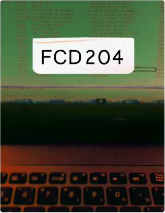 FCD204 written in black text, with a laptop screen and keyboard in the background.