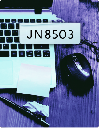 JN8503 written in black letters, with a laptop, mouse and pen in the background.