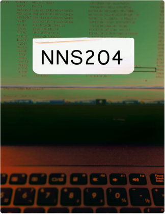 NNS204 is written in black font, with a laptop screen and keyboard in the background.